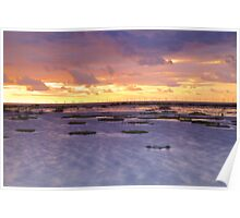 Sunset over the wind farm - Prestatyn Wales Poster