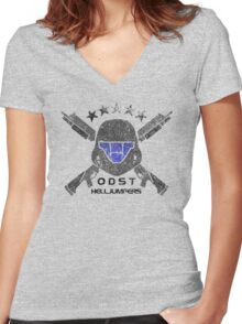 ODST Helljumpers (Color Distressed) Women's Fitted V-Neck T-Shirt