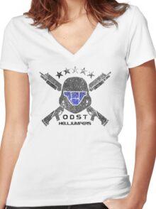 ODST Helljumpers (Color Distressed) Women's Fitted V-Neck T-Shirt