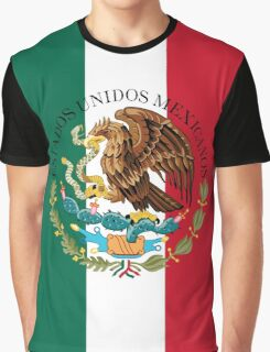 Flag of Mexico (augmented scale) with Coat of Arms (overlaid) Graphic T-Shirt