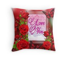 """Love You"" framed with Red Roses Throw Pillow"