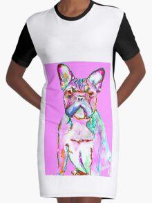 Pink French Bulldog Pop Art Graphic T-Shirt Dress