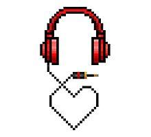 8bit Pixel Art Headphones + Heart Photographic Print