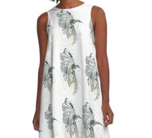Abstract Hummingbird A-Line Dress