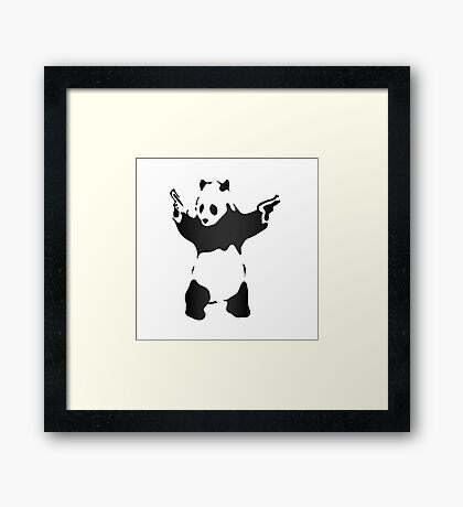 Panda with guns fresh design Framed Print