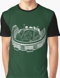 Shea Stadium - New York Jets Stadium Sketch (Green Background) Graphic T-Shirt