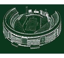 Shea Stadium - New York Jets Stadium Sketch (Green Background) Photographic Print