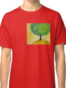 Love tree original textured oil painting romantic couple light Classic T-Shirt