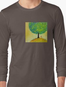 Love tree original textured oil painting romantic couple light Long Sleeve T-Shirt