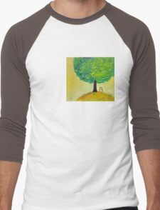 Love tree original textured oil painting romantic couple light Men's Baseball ¾ T-Shirt