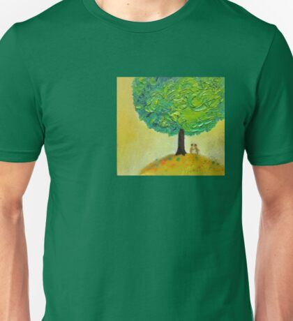 Love tree original textured oil painting romantic couple light Unisex T-Shirt