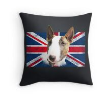 Bull Terrier BETTY Bullterrier UK grunge FLAG // black Throw Pillow