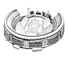 Shea Stadium - New York Jets Stadium Sketch (White Background) Photographic Print