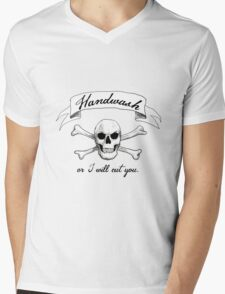 Handwash or I Will Cut You [White] Mens V-Neck T-Shirt