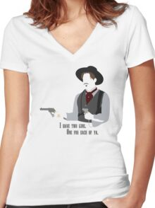 Tombstone: Two Guns Women's Fitted V-Neck T-Shirt