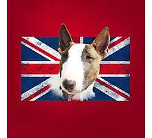 Bull Terrier BETTY Bullterrier UK grunge FLAG // red Photographic Print