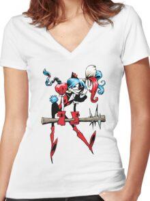 Harlequin Girl Women's Fitted V-Neck T-Shirt