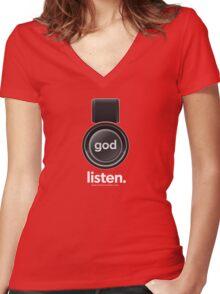 Listen Women's Fitted V-Neck T-Shirt