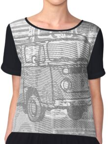 Grey Bay Campervan Montage Chiffon Top