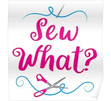 Sew what? with needle and scissors Poster