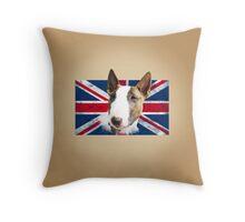 Bull Terrier BETTY Bullterrier UK grunge FLAG // creme Throw Pillow