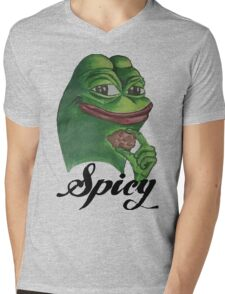Spicy Pepe the Frog Mens V-Neck T-Shirt