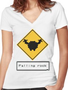 Falling Rock 2 Women's Fitted V-Neck T-Shirt