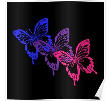Bisexual Flag Butterflies on Black  Poster