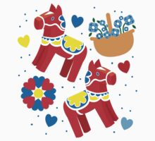 It's raining! Dalecarlian horse pattern with baskets of flowers One Piece - Long Sleeve
