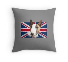 Bull Terrier BETTY Bullterrier UK grunge FLAG // transparent Throw Pillow