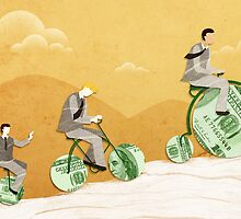 Three businessmen riding money bikes by Fanatic  Studio
