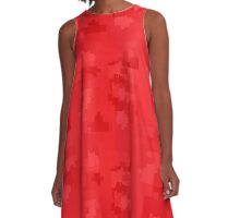 Poppy Red Square Pixel Color Accent A-Line Dress
