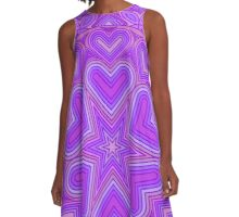 Intricate Purple Heart Design A-Line Dress