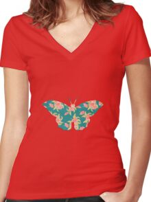 vintage butterfly with flowers design Women's Fitted V-Neck T-Shirt