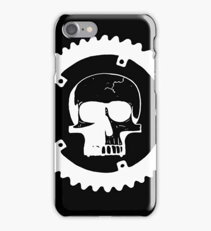 Sprocket Skull- White on Black iPhone Case/Skin