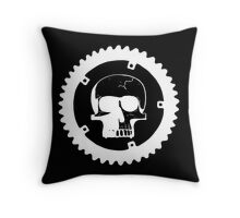 Sprocket Skull- White on Black Throw Pillow