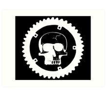 Sprocket Skull- White on Black Art Print