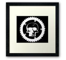 Sprocket Skull- White on Black Framed Print