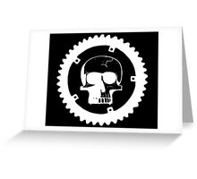 Sprocket Skull- White on Black Greeting Card