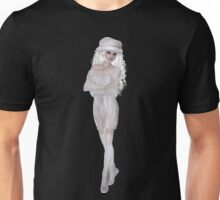 Blond Platinum Woman with Long and Curly Hair Wearing Light Beige Hat, Dress, Shoes and Socks Unisex T-Shirt