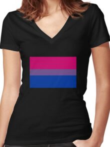 Bisexual Pride Flag Women's Fitted V-Neck T-Shirt
