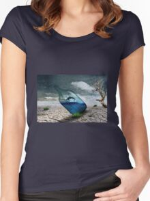 Fish in a bottle with tree, art Women's Fitted Scoop T-Shirt