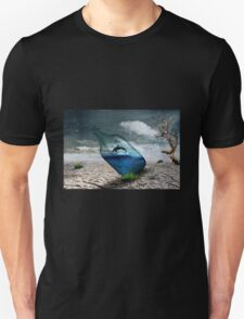 Fish in a bottle with tree, art Unisex T-Shirt