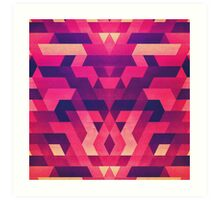 Abstract Symertric geometric triangle texture pattern design in diabolic magnet future red Art Print