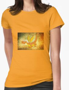 Flying funny Dragon art Womens Fitted T-Shirt