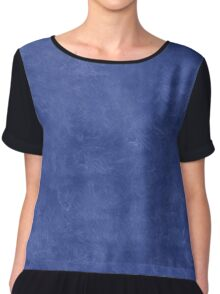 Deep Ultramarine Oil Pastel Color Accent Chiffon Top