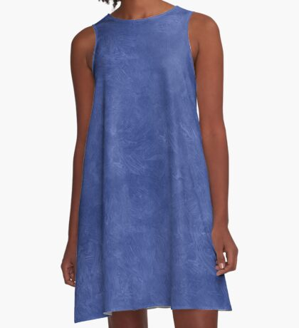 Deep Ultramarine Oil Pastel Color Accent A-Line Dress