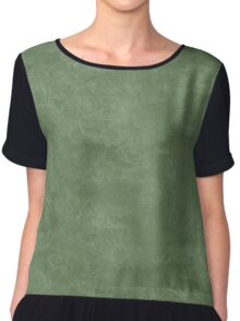 Vineyard Green Oil Pastel Color Accent Chiffon Top