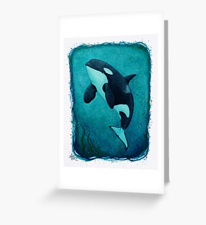 """The Matriarch"" Killer Whale ~ Orca ~ J2 Granny ~ Watercolor Greeting Card"