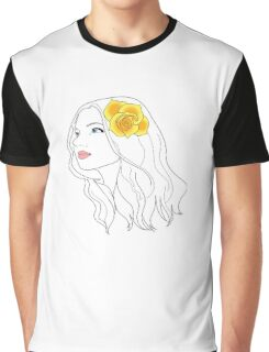 Girl with Rose Graphic T-Shirt